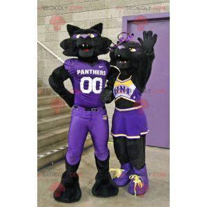 2 maskoti černých panterů koček ve fialovém oblečení -