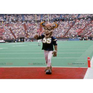 Brown buffalo mascot with big horns - Redbrokoly.com