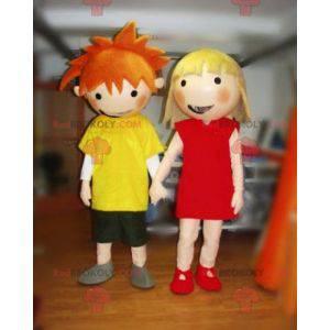 2 maskoti, chlapec a dívka. Pár maskotů - Redbrokoly.com