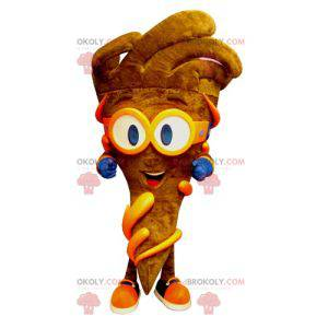 Mascot cone of brown fries with glasses - Redbrokoly.com