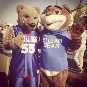 2 maskoti medvěd hnědý ve sportovním oblečení - Redbrokoly.com