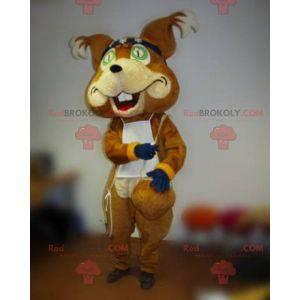 Brown Fox Maskottchen mit einem Stirnband und einem Lätzchen -