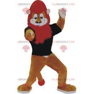 Hnědý a bílý lev maskot s červenou hřívou - Redbrokoly.com