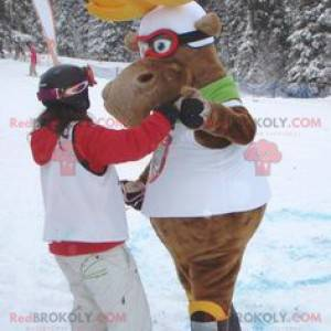 Elk reindeer caribou mascot in ski outfit - Redbrokoly.com