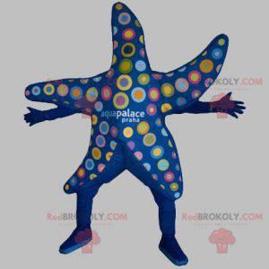 Mascota estrella de mar azul con círculos de colores -