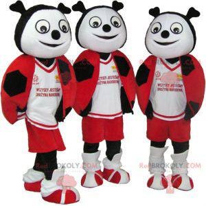 3 mascots of red black and white ladybugs - Redbrokoly.com