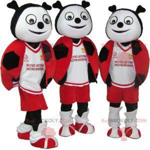 3 Maskottchen mit roten, schwarzen und weißen Marienkäfern -