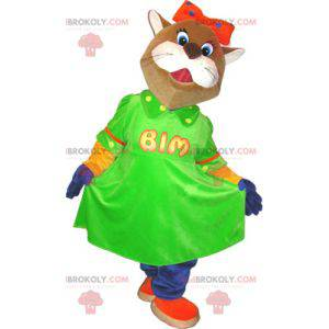 Brown and white cat mascot with a green dress - Redbrokoly.com