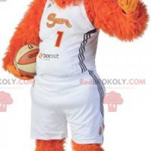 Orange und gelbes Schneemannhundemaskottchen - Redbrokoly.com