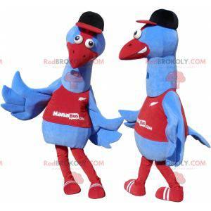 2 Maskottchen von blauen und roten Vögeln. 2 Strauße -