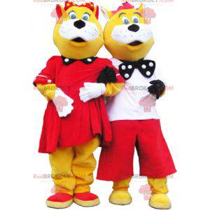 2 mascots of yellow and white cats well dressed - Redbrokoly.com