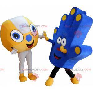 2 supportere maskoter en ball og en supporterhånd -