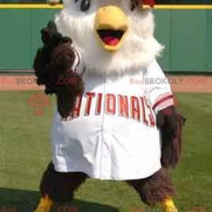 Velký pták maskot hnědé a bílé v baseballové oblečení -