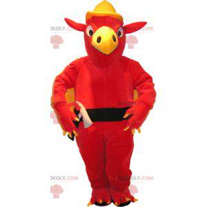 Maskottchen des roten Geiervogels im Handwerker-Outfit -