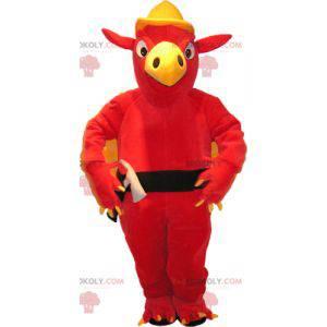 Maskotka czerwony i żółty gryf ze skrzydłami z tyłu -