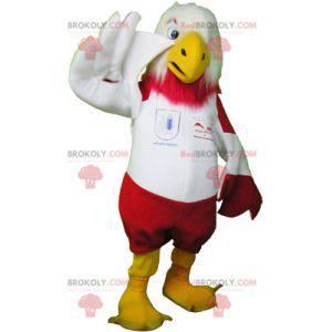 Rød og hvit ørnemaskot i sportsklær - Redbrokoly.com