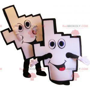 2 Maskottchen aus weißen und schwarzen Unterstützerhänden -