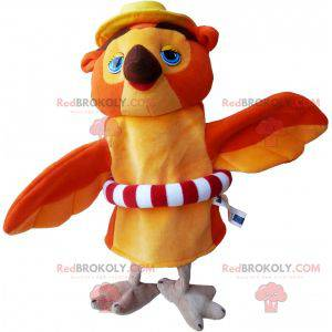 Orange and beige owl mascot with a buoy - Redbrokoly.com