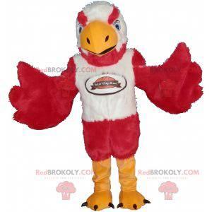 Maskot ørn rød hvit og gul veldig søt og skremmende -