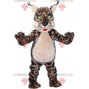 Spotted leopard tiger mascot with green eyes - Redbrokoly.com