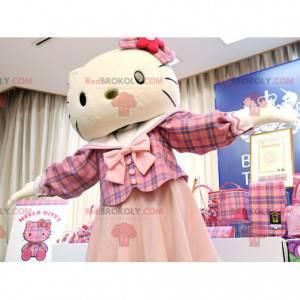 Maskot slavné kočky Hello Kitty oblečený v růžové barvě -