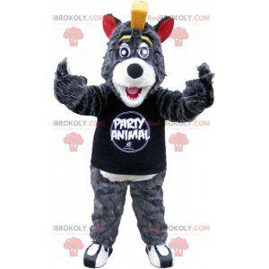 Gray and white wolf mascot with a yellow crest - Redbrokoly.com