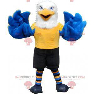 Mascot eagle white yellow and blue hairy and very successful -