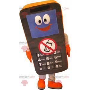 Maskotka czarny i pomarańczowy telefon komórkowy -