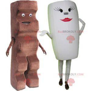 2 mascots: a chocolate bar and a white cup - Redbrokoly.com