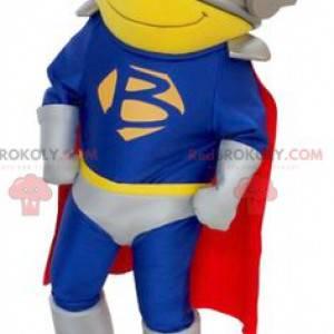 Superhelden-Maskottchen mit Kostüm, Umhang und Helm -