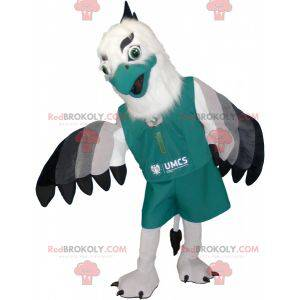 Gray and black white eagle mascot with pretty feathers -