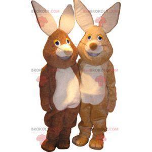 2 maskoti králíků, jeden hnědý a druhý béžový - Redbrokoly.com