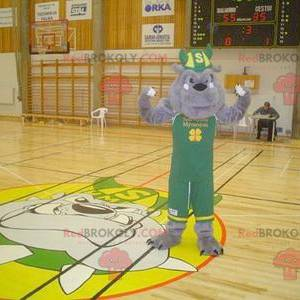 Gray bulldog mascot in green outfit with a Viking helmet -