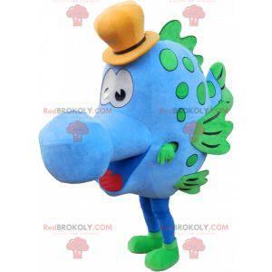 Niebiesko-zielona ryba maskotka z kapeluszem - Redbrokoly.com