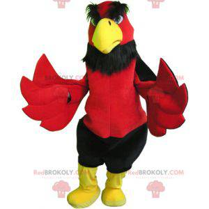 Obří a zábavný červený černý a žlutý pták maskot -