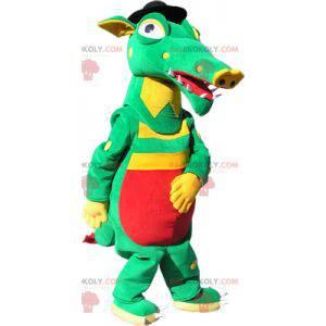 Zelený žlutý a červený krokodýlí maskot - Redbrokoly.com