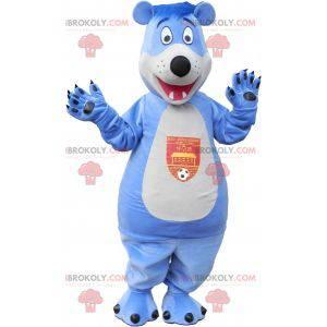 Blaues und weißes Teddybärmaskottchen - Redbrokoly.com