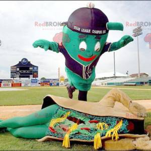 2 Maskottchen, ein riesiger grüner Mann und ein Sandwich im
