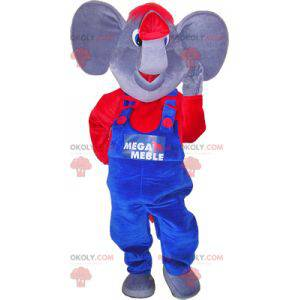 Elephant mascot with a blue and red outfit - Redbrokoly.com