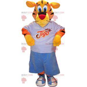 Orangegelbes Tigermaskottchen mit schwarzem Sportoutfit -