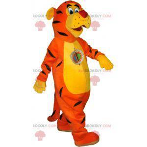 Oranžový, žlutý a černý realistický maskot tygra -