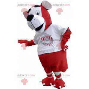 Maskot tygr v červené a bílé sportovní oblečení - Redbrokoly.com