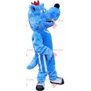Blue and white dog mascot. Blue animal mascot - Redbrokoly.com