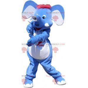 Blå elefant maskot med rødt hår - Redbrokoly.com