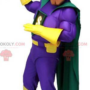 Very muscular superhero mascot with a colorful outfit -
