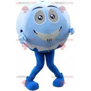 Blaues und weißes Ballmaskottchen. Maskottchen mit rundem Kopf