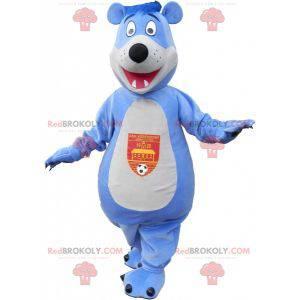 Modrý a bílý medvídek maskot - Redbrokoly.com