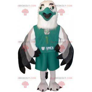 Maskotka biało-zielony sfinks w odzieży sportowej -