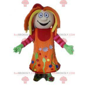 Barevná dívka maskot s dredy - Redbrokoly.com