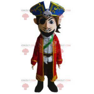 Piratenmaskottchen im Kostüm. Kapitän Maskottchen -